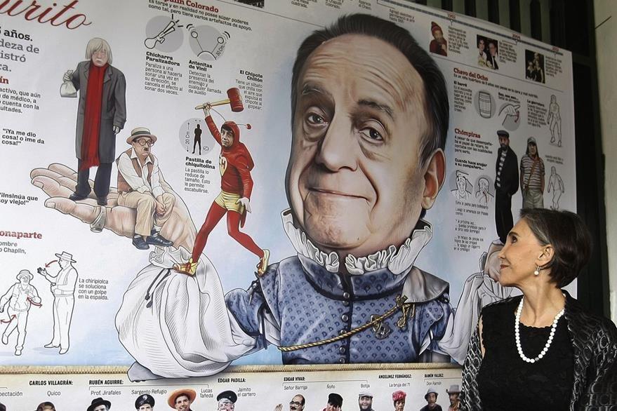 """La actriz mexicana Florinda Meza, viuda del cómico Roberto Gómez Bolaños """"Chespirito"""", observa las caricaturas hechas en honor a su esposo. (Foto Prensa Libre: EFE)"""