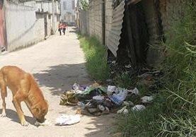 Uno de los callejones de la zona 10 de Mixco es utilizado como vertedero. Personal de la alcadía auxiliar limpia todas las mañanas, pero en plena luz del día los vecinos lanzan basura en la calle. (Foto Prensa Libre: Oscar Felipe Q.)