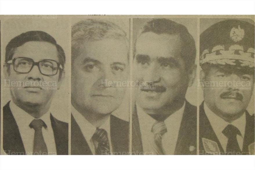 06/03/1982 Los presidenciables Alejandro Maldonado, Gustavo Anzuelo, Mario Sandoval Alarcón y Aníbal Guevara. (Foto: Hemeroteca PL)