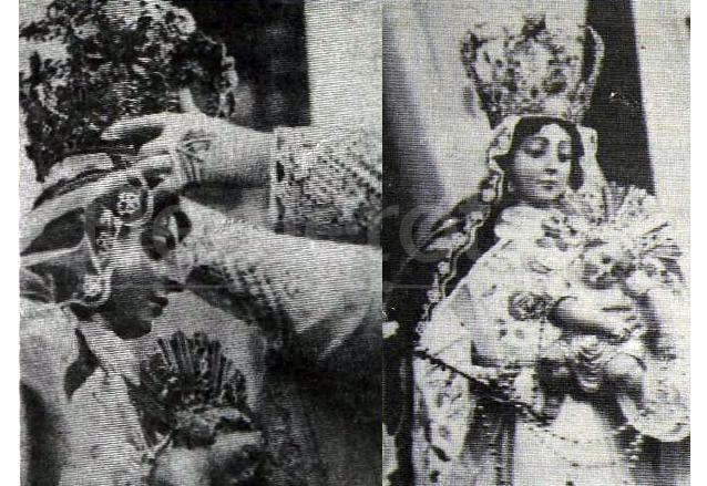 Momento de la Coronación de la Virgen del Rosario el 28 de enero de 1934 por el arzobispo Durou y Suré. (Foto: Hemeroteca PL)