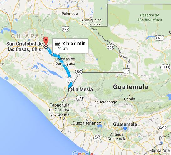 Captura de Google Maps que muestra la corte distancia de San Cristóbal de las Casas de La Mesilla, Huehuetenango.