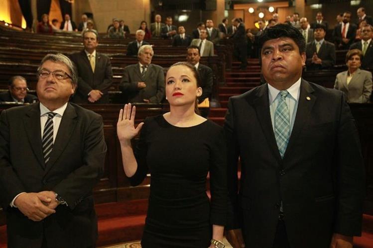 Daniela Beltranena es juramentada como diputada. (Foto Prensa Libre: Estuardo Paredes)