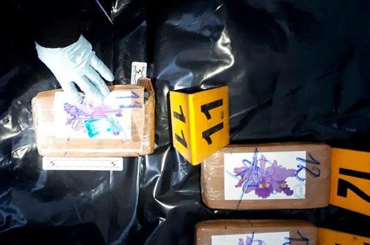 Autoridades proceden a contar los kilos de cocaína incautados. (Foto Prensa Libre)