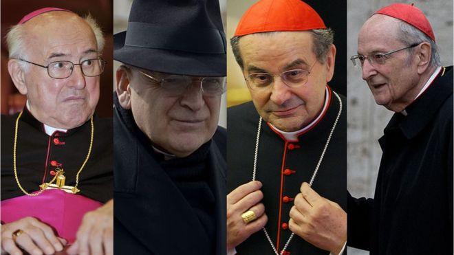 Los cardenales que firmaron la carta y la hicieron pública, en una maniobra sin precedentes en el Vaticano: Walter Brandmüller, Raymond Burke, Carlo Caffarra y Joachim Meisner. AFP / GETTY IMAGES