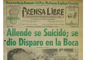 Portada de Prensa Libre del 11/9/1973 en el cual se daba la noticia del suicidio de Allende.(Foto:Hemeroteca PL)