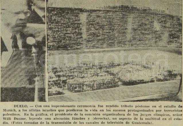 Prensa Libre informó el 6 de septiembre de 1972 sobre los atentados de Munich en el que murieron 11 atletas. (Foto: Hemeroteca PL)