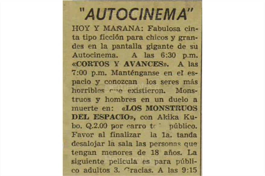 Los monstruos del espacio, un film para  chicos y grandes se exhibió el 4 de noviembre de 1972.(Foto: Hemeroteca PL)