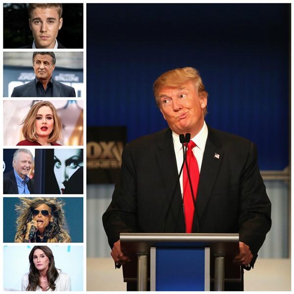 Donald Trump se ha ganado la simpatía de muchos famosos pero hay otro bando que decidió darle la espalda. (Foto Prensa Libre: EFE y AP)