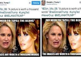 Trump retuiteó un mensaje con un montaje que compara a Heidi Cruz con otra más agradecida su esposa Melania.