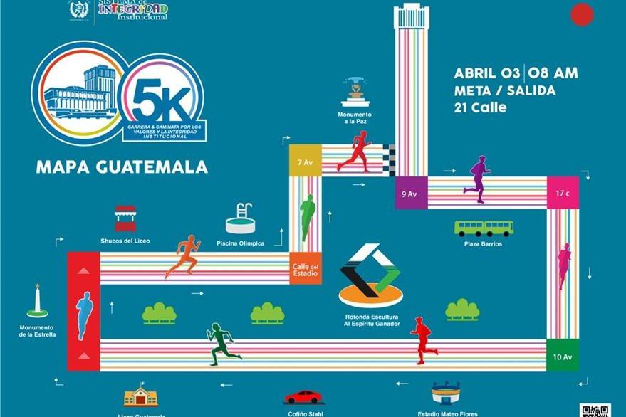 El recorrido de la carrera en la capital. (Foto Prensa Libre: OJ)
