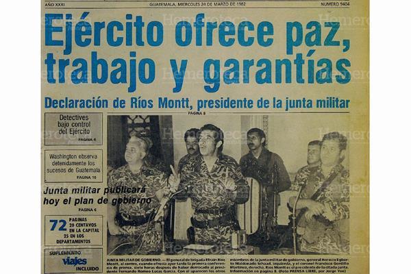 Junta militar, integrada por Horacio Egberto Maldonado Schaad, José Efraín Rios Montt y Francisco Gordillo Martínez. Foto: Hemeroteca PL