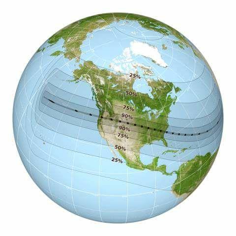 El mapa da a conocer los porcentajes en los que se observará el eclipse (Foto prensa Libre: Facebook Edgar Castro)