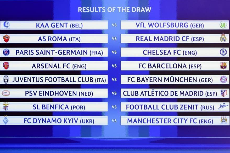 Estos son los emparejamientos de los octavos de final de la Liga de Campeones de Europa luego del sorteo celebrado este lunes en Suiza. (Foto Prensa Libre: AFP)
