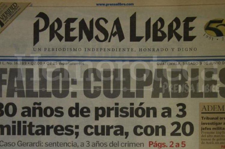 Titular de Prensa Libre del 9 de junio de 2001.