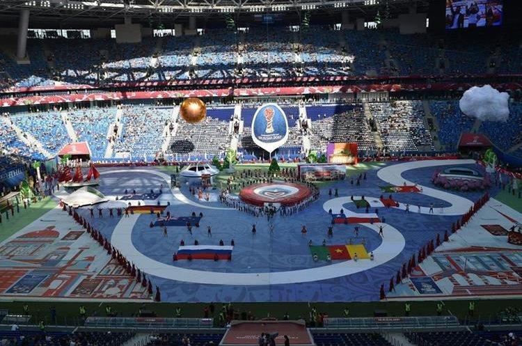 El estadio estuvo semi-vacío pero se espera que se llene en su totalidad para el Rusia-Nueva Zelanda. (Foto Prensa Libre: AFP9