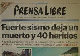 Titular de Prensa Libre del 12 de julio de 1999. (Foto: Hemeroteca PL)