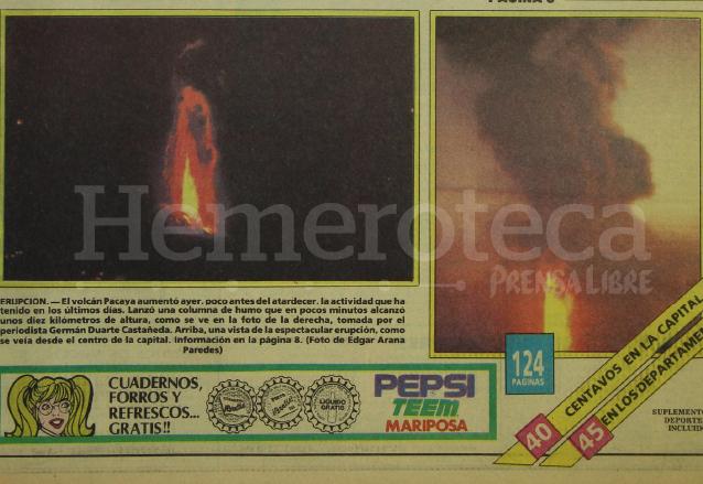 Dos aspectos de la erupción del Volcán de Pacaya que ilustraba la portada de Prensa Libre del día 26 de enero de 1987. (Foto: Hemeroteca PL)
