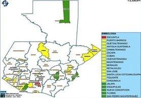 Mapa de los municipios donde priorizarán la seguridad. (Foto Prensa Libre: Ministerio de Gobernación)