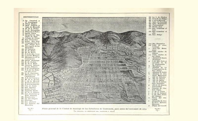 Mapa de la Antigua Guatemala, fechado poco antes de los terremotos de Santa Marta. La información menciona más de 40 templos, así como edificios públicos. (Foto: La República).