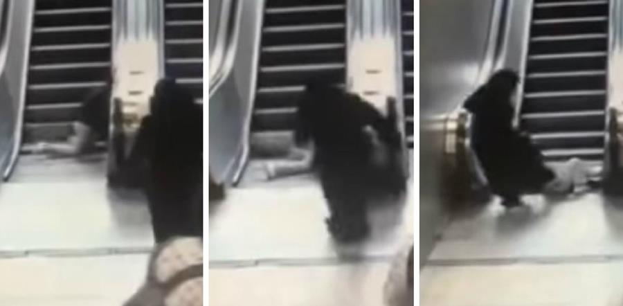 Minutos de terror vivió una madre en Turquía cuando su hijo quedó atrapado en las escaleras eléctricas. (Foto Prensa Libre: YouTube)