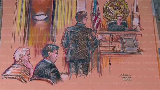 Ilustraciones sobre la audiencia de Ricardo Martinelli ante el Tribunal Federal de Miami.(AP).