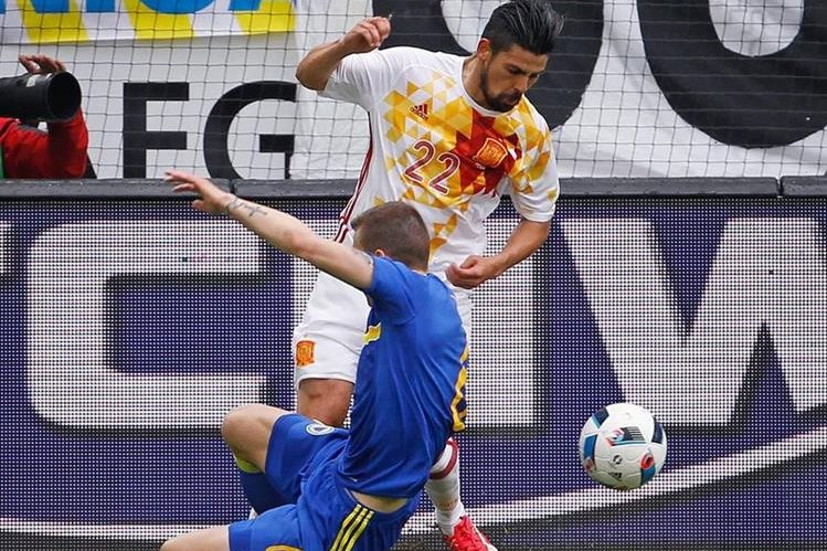 Nolito fue el goleador de esta tarde para la Selección española. (Foto Prensa Libre: EFE)
