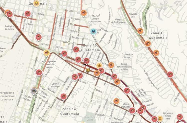 Mapa del tránsito en bulevar Los Próceres. (Foto Prensa Libre: Waze)