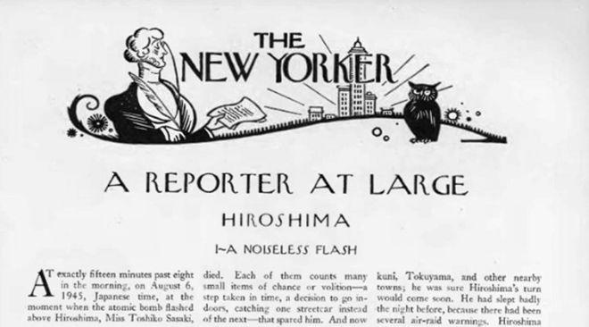 La primera página del artículo Hiroshima en la revista The New Yorker.