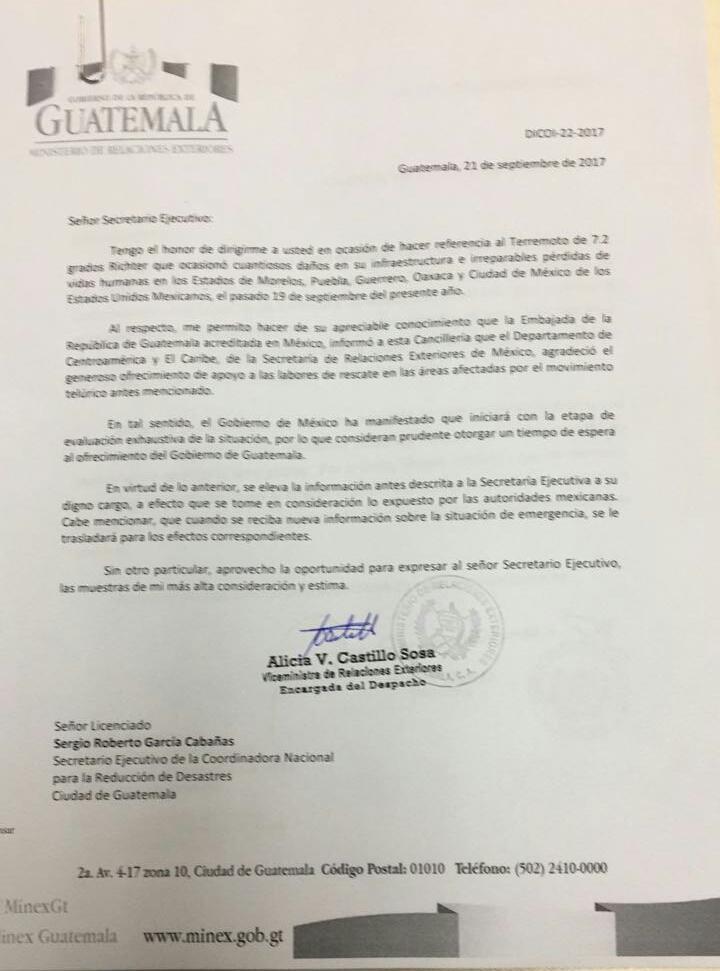 Carta que envió la Cancillería a la Conred para notificar la decisión de México. (Foto Prensa Libre: Conred)