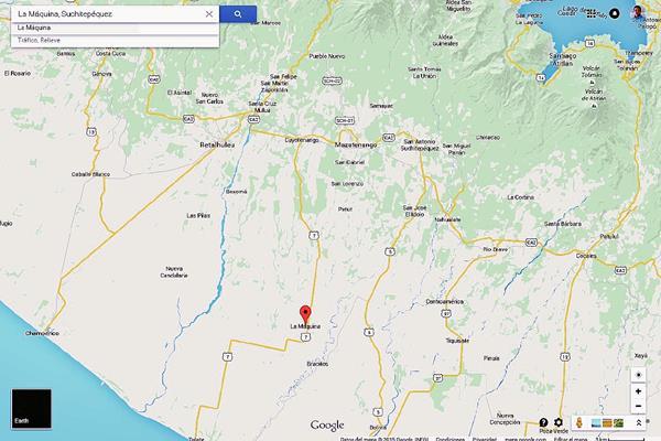 Mapa de San José La Máquina, Suchitepéquez. (Foto Prensa Libre: Google Maps)