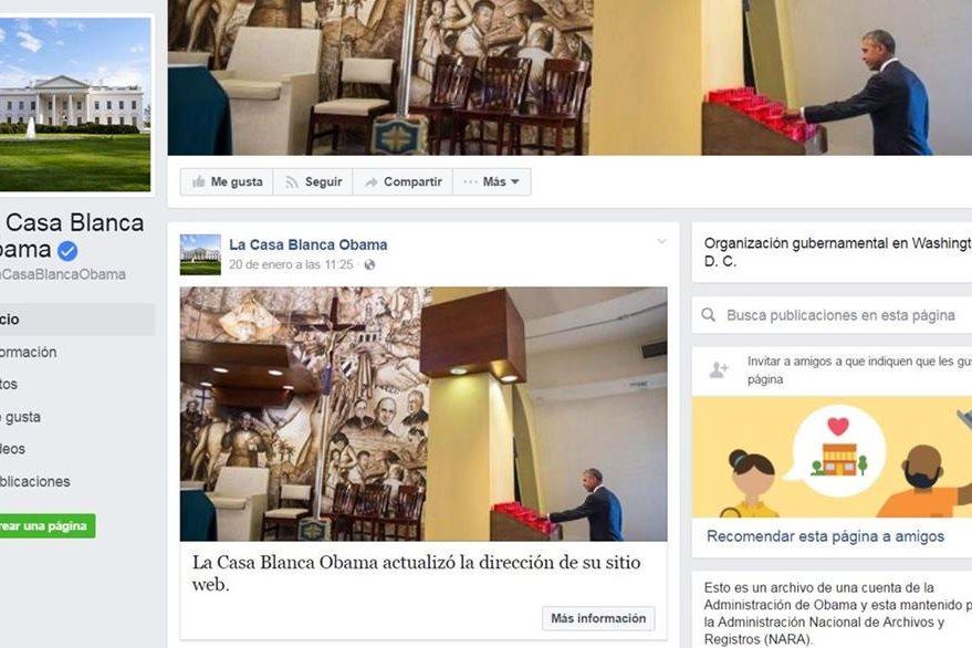 La última actividad en la fan page de Facebook en español de la Casa Blanca ocurrió el día en que Obama entregó el poder a Trump.