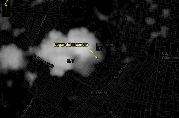 Otra de las imágenes muestran el diámetro del siniestro.(Foto Prensa Libre: Rüdiger Escobar)