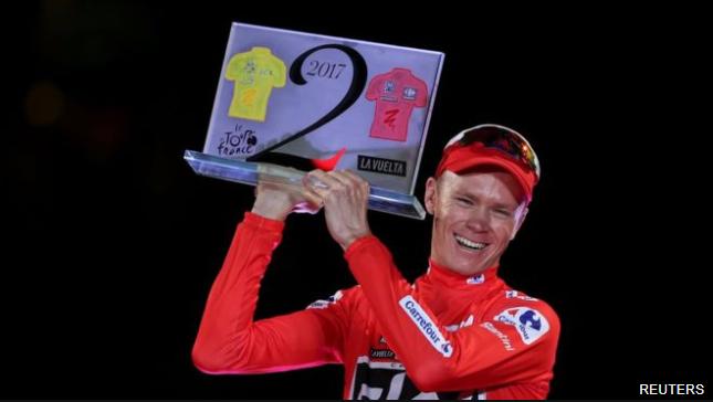Chris Froome logró el histórico doblete de ganar el tour y la Vuelta el mismo año. (BBC Mundo)