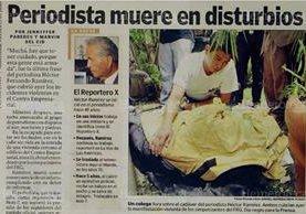 Referencias biográficas y muerte del reportero Héctor Ramírez (Foto: Hemeroteca PL)