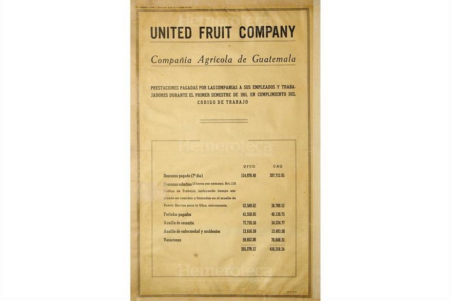 La United Fruit Company publica el 20 de agosto de 1951 estado de prestaciones. (Foto: Hemeroteca PL)