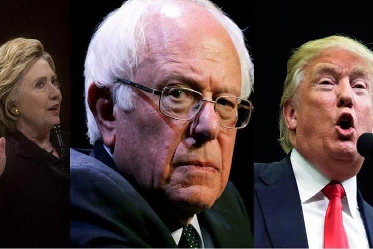 Hillary Clinton (d), Bernie Sanders(c) y Donald Trump (d) buscan una victoria en las primarias de Nueva York.