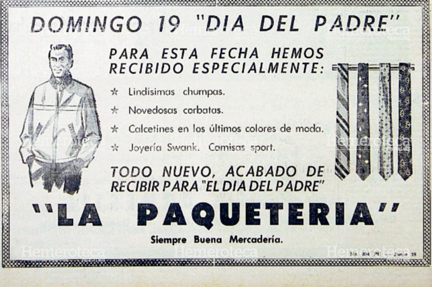 """Anuncio de junio de 1960, del almacén """"La Paquetería"""" con artículos para el Día del Padre. (Foto: Hemeroteca PL)"""