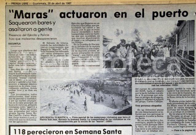 Nota informando sobre el caos que las maras causaron en el Puerto de San José en 1987. (Foto Prensa Libre: Hemeroteca)