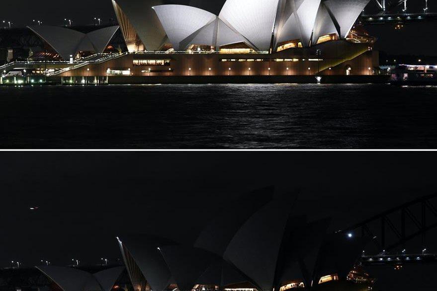 El famoso Teatro de la Ópera de Sídney, Australia, se une a campaña por la Tierra. (AFP)