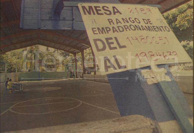 Centro de votación en Siquinalá, Escuintla el cual aparece desierto. (Foto: Hemeroteca PL)
