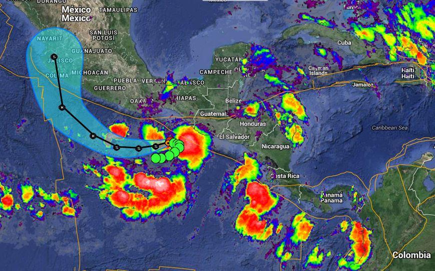 Trayectoria de la tormenta 20E que se formó en el Pacífico.