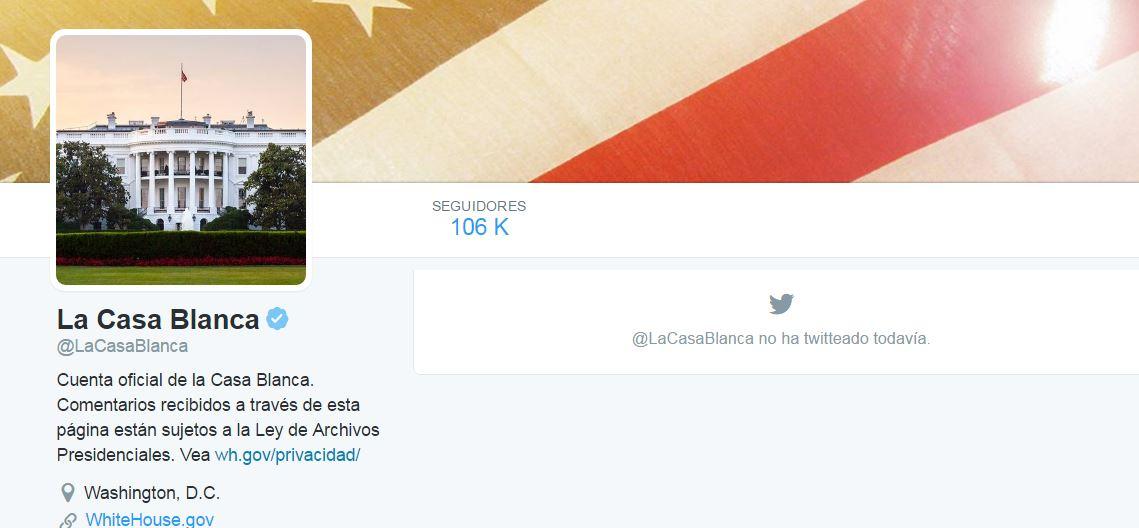La cuenta de Twitter en español @LaCasaBlanca no registra más actividad desde la asunción de Trump.