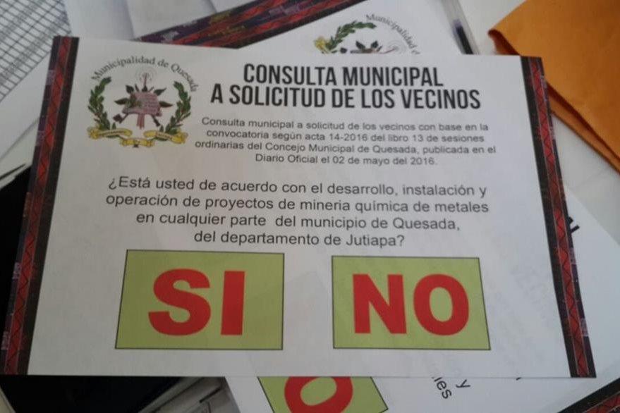 Papeleta que se utiliza en el plebiscito que lleva a cabo la comuna de Quesada. (Foto Prensa Libre: Oscar González)