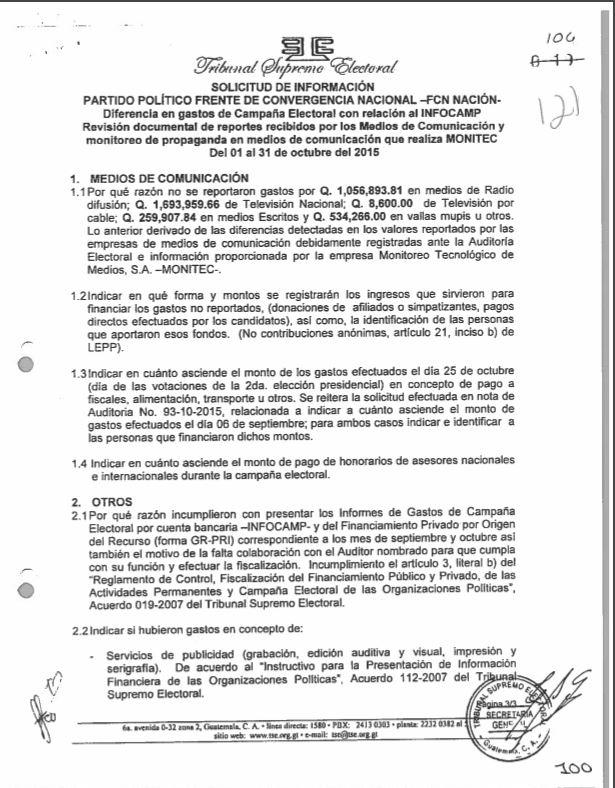 Inconsistencias evidenciadas por el TSE en la auditoría de gastos de campaña realizada en octubre de 2015.