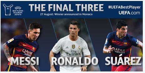Así anuncia la Uefa a los finalistas para el mejor jugador. (Foto Prensa Libre: Twitter)