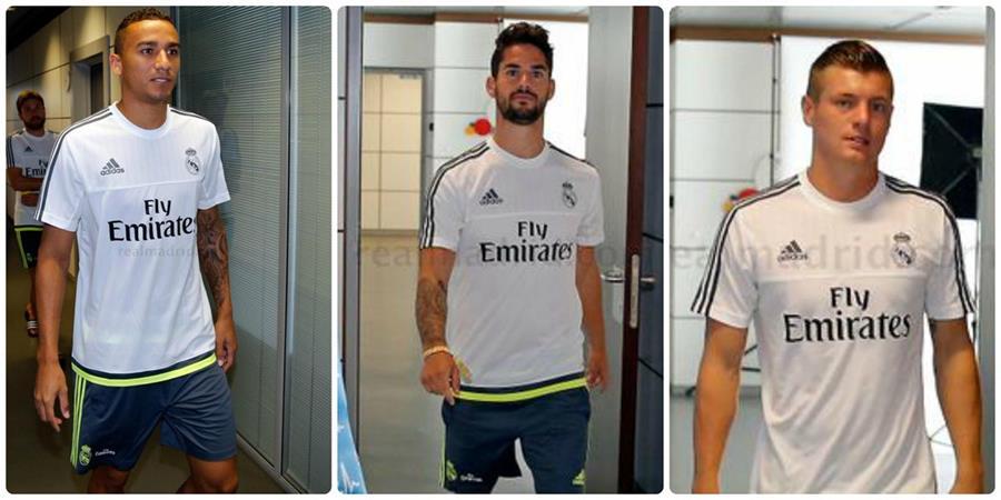 Los jugadores del Real Madrid al momento de su reconocimiento médico. (Foto Prensa Libre: Real Madrid)