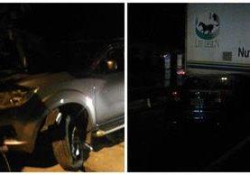 Vehículos que chocaron en ruta Interamericana. (Foto Prensa Libre: PMT de Mixco)