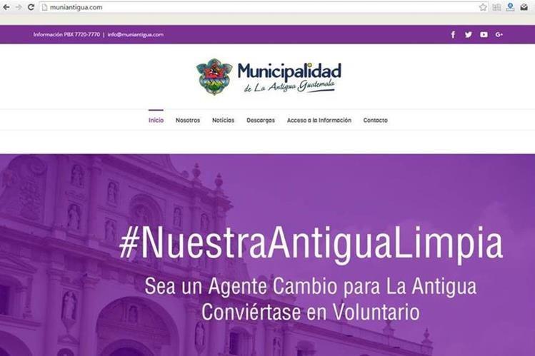 La dirección de la nueva página de la Municipalidad de Antigua Guatemala es www.muniantigua.com. (Foto Prensa Libre)