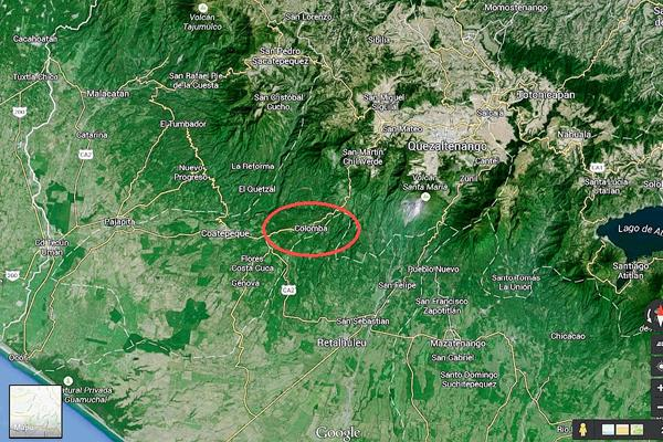 Mapa de  Colomba, Quetzaltenango. (Foto Prensa Libre: Google Maps)
