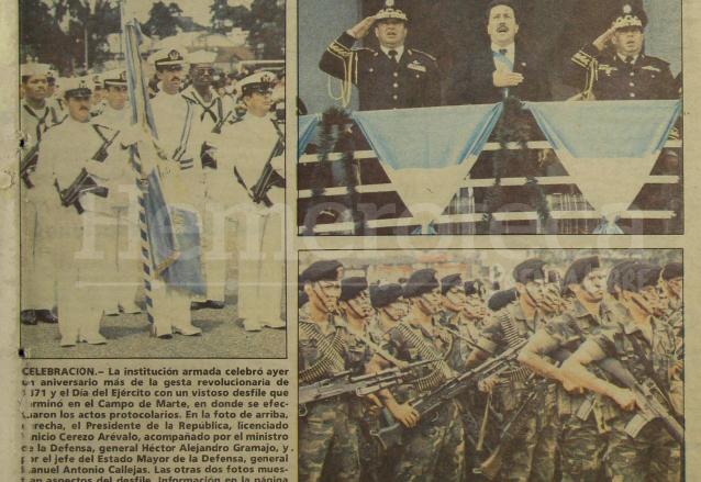 Aspectos del desfile del Día del Ejército de 1989 durante la presidencia de Vinicio Cerezo. (Foto: Hemeroteca PL)
